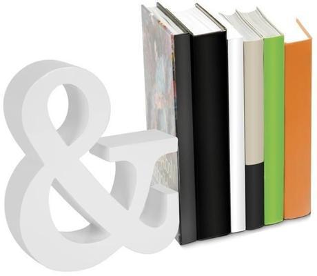 Dizajnová zarážka na knihy & biela  22,5cm,