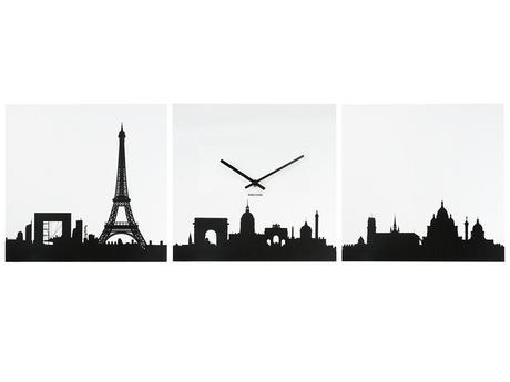 Hodiny na stenu Karlsson 3 obraz Paríž 3x35x35cm,