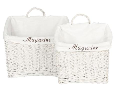 Košíky bielej Magazine set 2 ks  Set dvoch košikov,