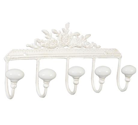 Kovový nástenný vešiak biely Kvety  Štýlový násten,