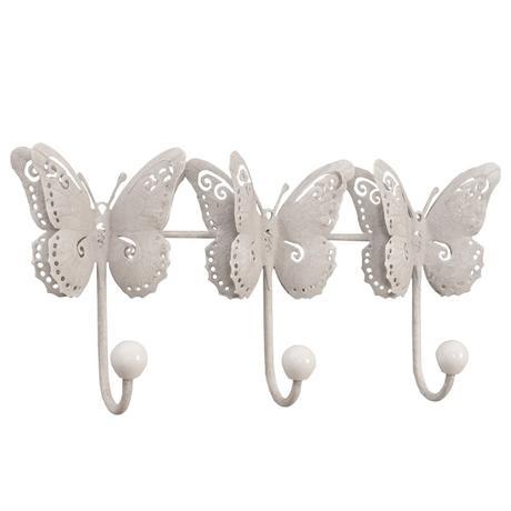 Kovový nástenný vešiak biely Motýle  Štýlový náste,