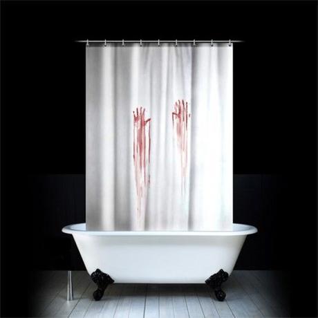 Krvavý záves do kúpeľne Spinning Hat 180x180cm,