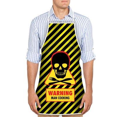 Kuchynská zástera pre mužov - warning man cooking,