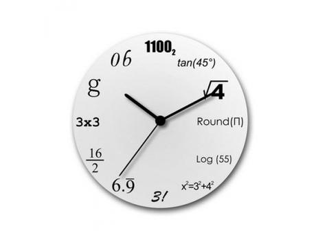 Matematické hodiny biele 30cm,