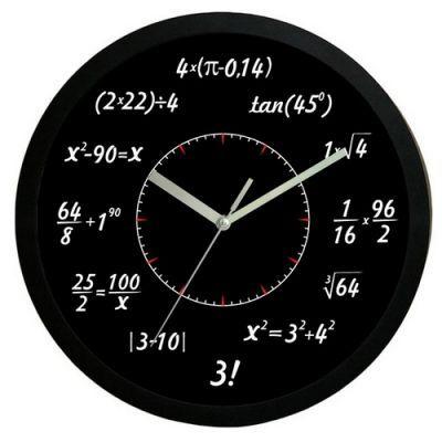 Matematické hodiny čierne 30cm,
