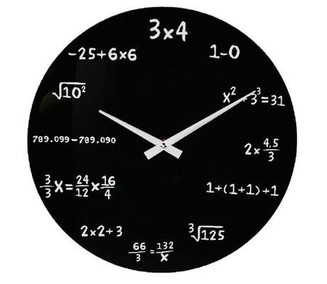 Matematické hodiny sklenené 35cm,