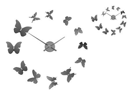 Nalepovacie nástenné hodiny Balvi Motýľe,