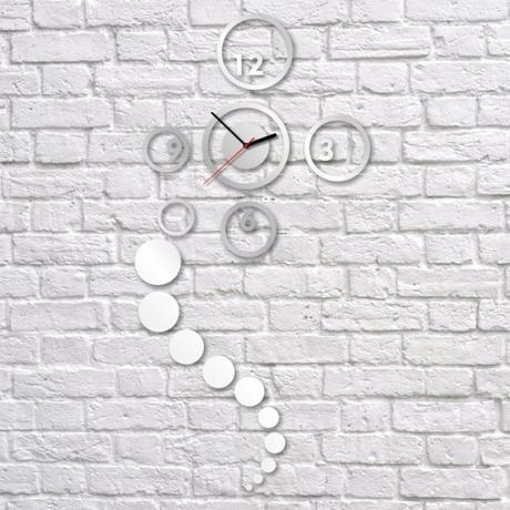 Nalepovacie nástenné hodiny, Kruhy, 40x82cm,