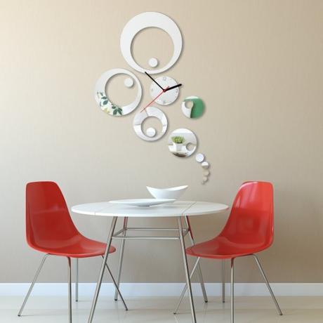 Nalepovacie nástenné hodiny, Kruhy Peafowl, 35x52c,