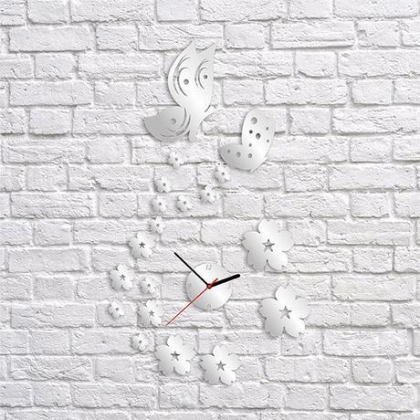 Nalepovacie nástenné hodiny, Motýle, 38x65cm,