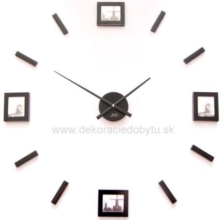 Nalepovacie nástenné hodiny s fotkami čierne,