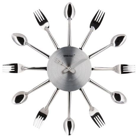 Nástenné hodiny do kuchyne, Kinghoff, Príbor 36cm,