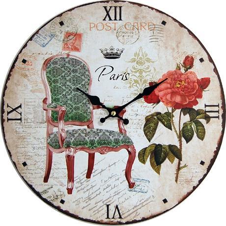 Nástenné hodiny hl Post card Paris 34cm,