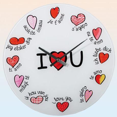 Nástenné hodiny I Love you, 30cm,
