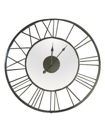 Nástenné hodiny kov - čierne so zrkadlom, 55cm,