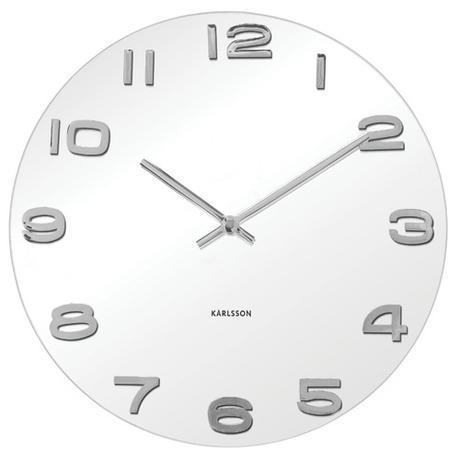 Nástenné hodiny okrúhle Vintage Karlsson biele,