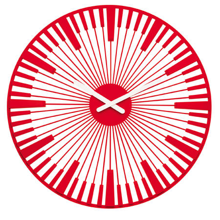 Nástenné hodiny PIANO, transparentna červena 45cm,