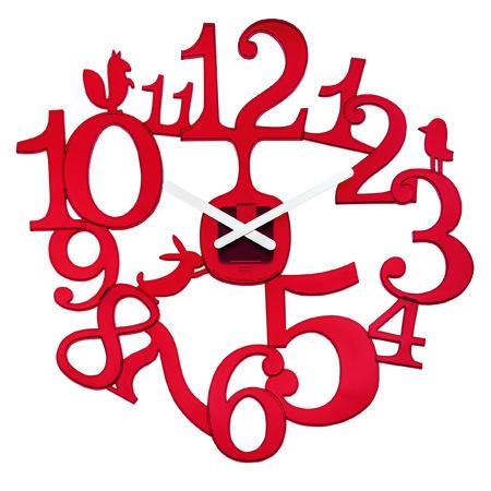 Nastenne hodiny pip transparentná červena, 45cm,