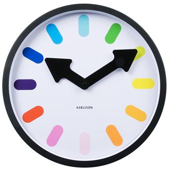 Nástenné hodiny Rainbow 5257BK Karlsson 30cm,