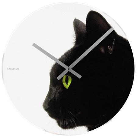 Nástenné hodiny  s motívom mačky, Karlsson 40cm,
