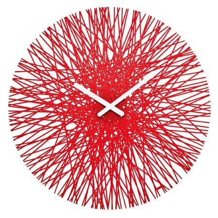 Nástenné hodiny SILK transparentná červena, 45cm,