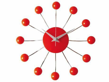 Nástenné hodiny Spider s červenými guličkami,