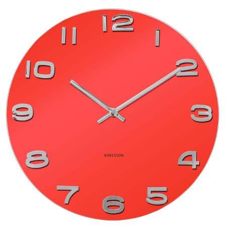 Nastenne hodiny Vintage červene okruhle ,