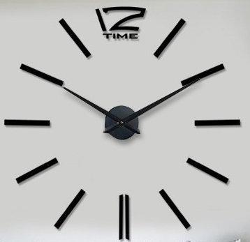 Nástenné nalepovacie hodiny Time12 čierne 70-130cm,