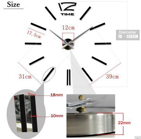 Nástenné nalepovacie hodiny Time12 silver 70-130cm,