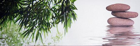 Obraz na plátne 30x90cm Stone & Bambus zeleno-biel,