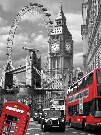 Obraz na plátne 40x50cm Londýn Dominanty čierno-bi,