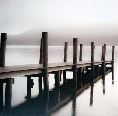 Obraz na plátne 70x70cm Mólo bielo-šedý,