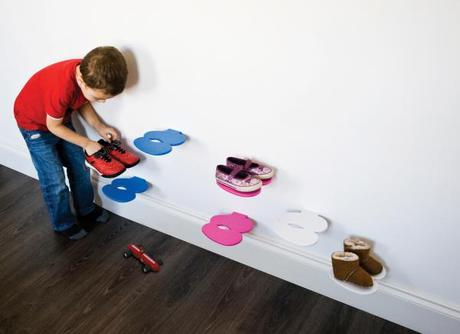 Polička na detské topánky J-ME Footprint, modrá,