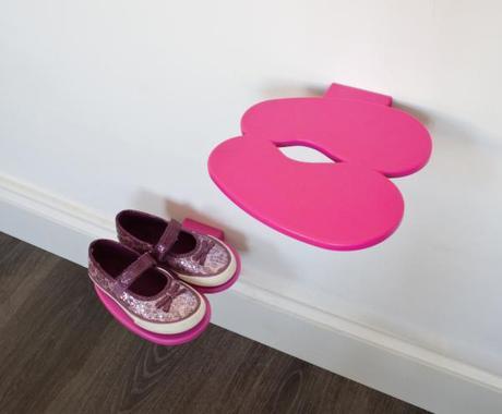 Polička na detské topánky J-ME Footprint, ružová,