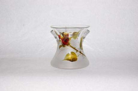 Ručne maľovaná váza zo skla,ruže,výška 14cm,prieme,
