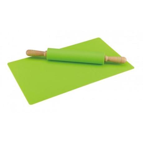 Silikónový valček na cesto s podložkou, zelený,