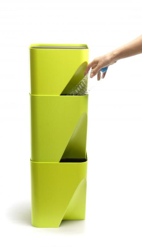 Stohovateľný odpadkový kôš Qualy Block 20, biely,