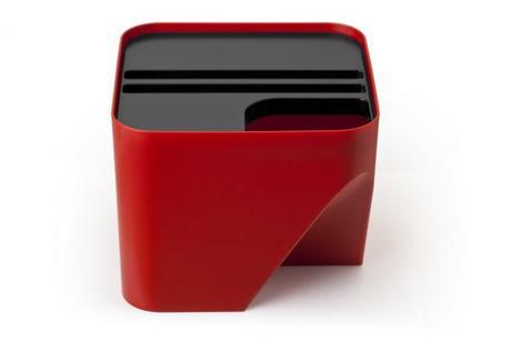 Stohovateľný odpadkový kôš Qualy Block 20, červený,