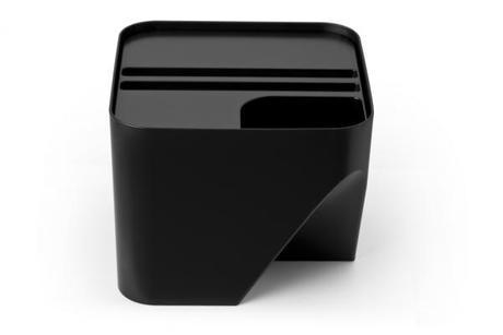 Stohovateľný odpadkový kôš Qualy Block 20, čierny,