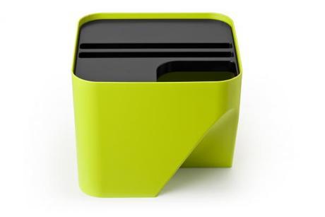 Stohovateľný odpadkový kôš Qualy Block 20, zelený,