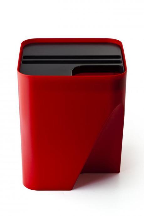 Stohovateľný odpadkový kôš Qualy Block 30, červený,