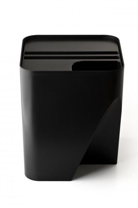 Stohovateľný odpadkový kôš Qualy Block 30, čierny,