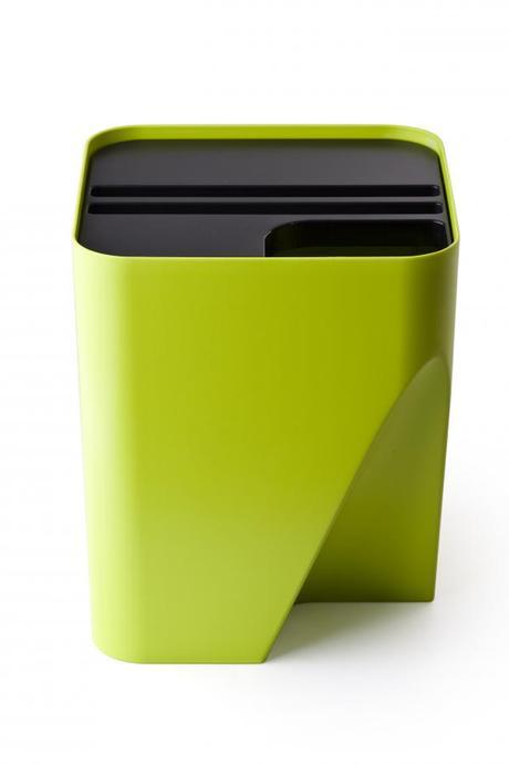 Stohovateľný odpadkový kôš Qualy Block 30, zelený,