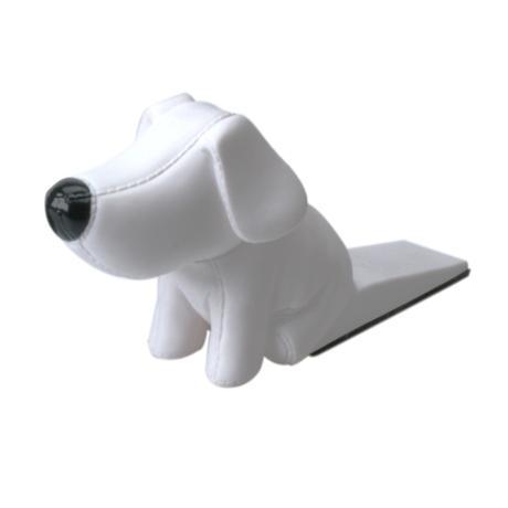 Zarážka do dverí v tvare psíka biela 18x 9 cm,