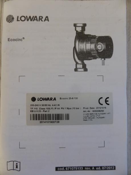nepouzite čerpadlo LOWARA Ecocirc 25-6/130,