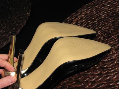 lakované lodičky, zlatý podpätok, 38