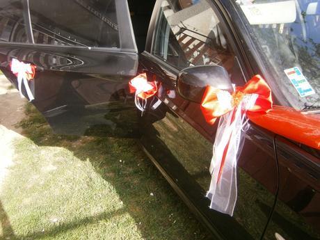 Červená výzdoba na auto so srdciami 15ks,