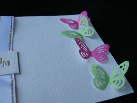 Motýliky 3D - cyklamenove/zelene,