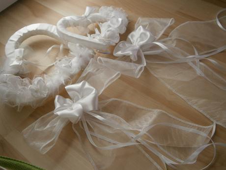 Srdcia na svadobné auto - biele,