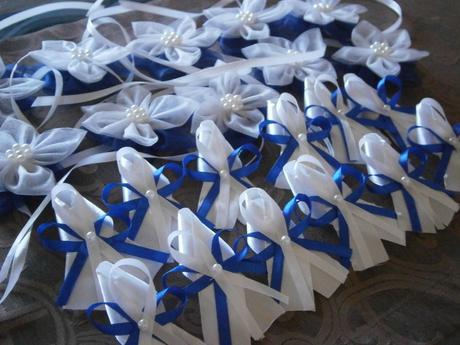 Svadobná sada-kráľovská modrá (náramky,pierka,van),